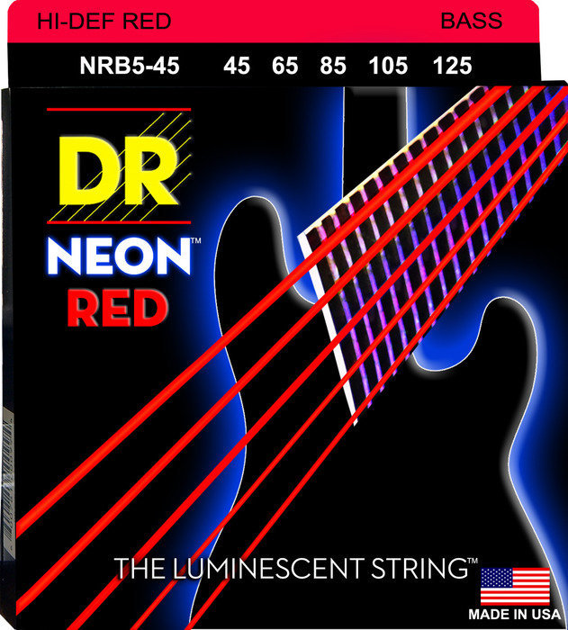 View larger image of DR Strings NRB5-45 NEON Red 5-String Bass Strings - Medium, 45-125