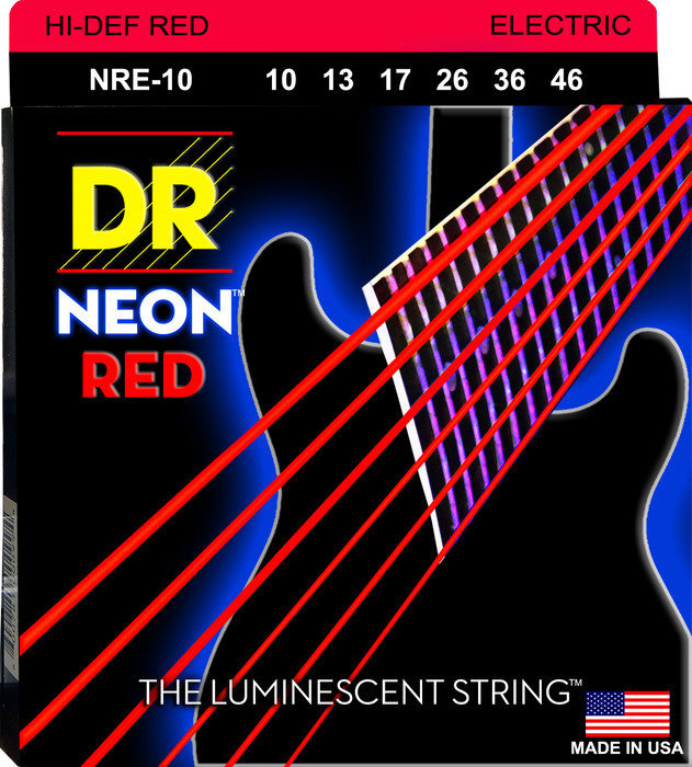 View larger image of DR Strings NRE-10 NEON Red Electric Strings - Medium, 10-46