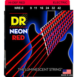 DR Strings NRE-9 NEON Red Electric Strings - Light, 9-42