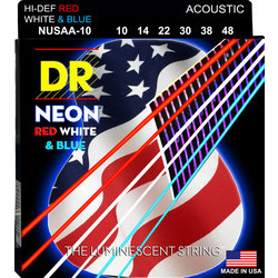DR Strings NUSAA-10 NEON Red/White/Blue Coated Acoustic Strings - 10-48