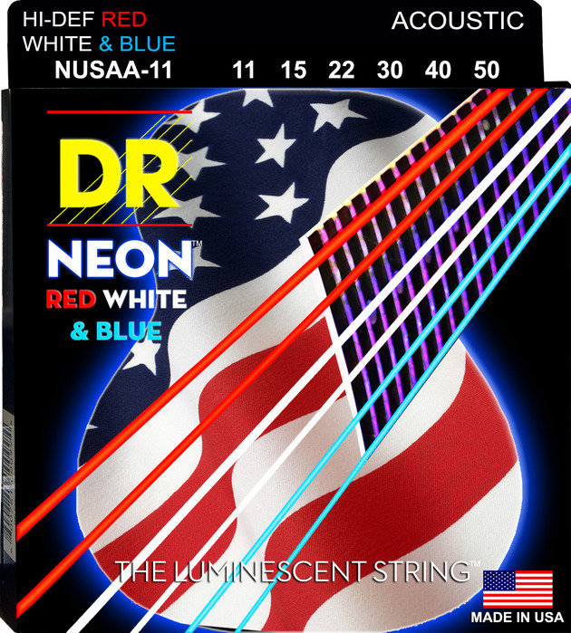 View larger image of DR Strings NUSAA-11 NEON Red/White/Blue Coated Acoustic Strings - 11-50