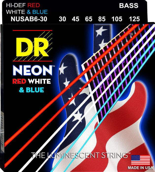 View larger image of DR Strings NUSAB6-30 NEON Red/White/Blue 6-String Bass Strings - 30-125