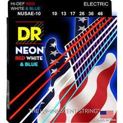 DR Strings NUSAE-10 NEON Red/White/Blue Electric Strings - 10-46