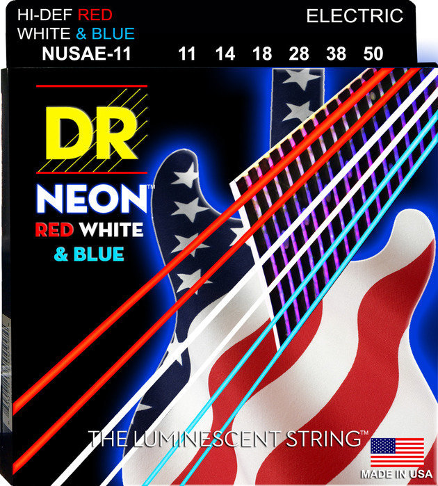 View larger image of DR Strings NUSAE-11 NEON Red/White/Blue Electric Strings - 11-50
