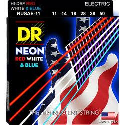 DR Strings NUSAE-11 NEON Red/White/Blue Electric Strings - 11-50