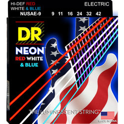 DR Strings NUSAE-9 NEON Red/White/Blue Electric Strings - 9-42