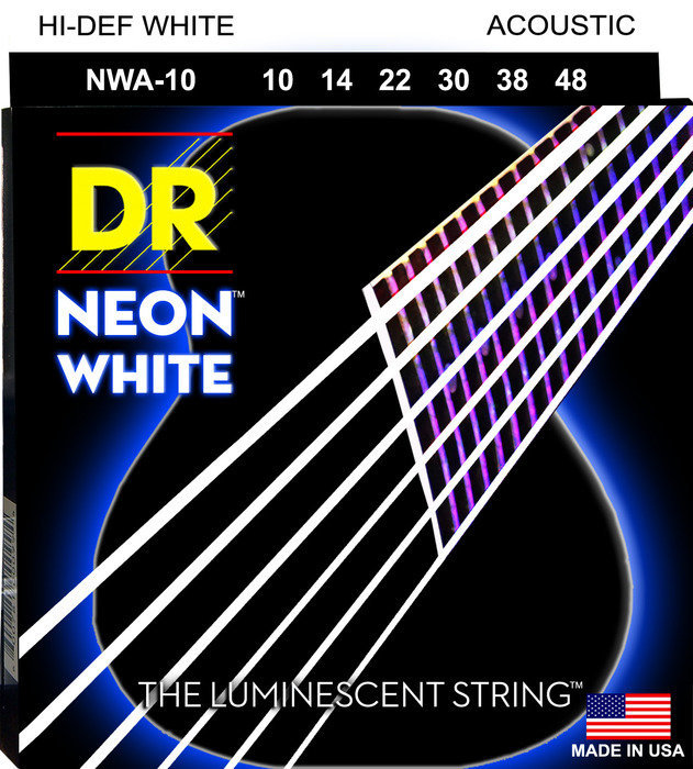 View larger image of DR Strings NWA-10 NEON White Coated Acoustic Strings - Extra Lite, 10-48