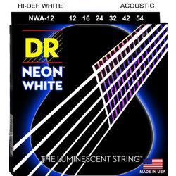 DR Strings NWA-12 NEON White Coated Acoustic Strings - Lite, 12-54