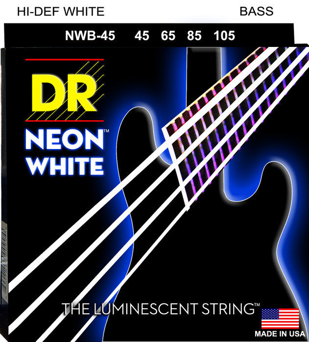 View larger image of DR Strings NWB-45 NEON White Electric Bass Strings - Medium, 45-105