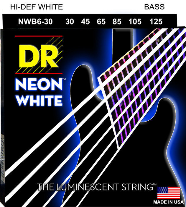 View larger image of DR Strings NWB6-30 NEON White 6-String Electric Bass Strings - Medium, 30-125