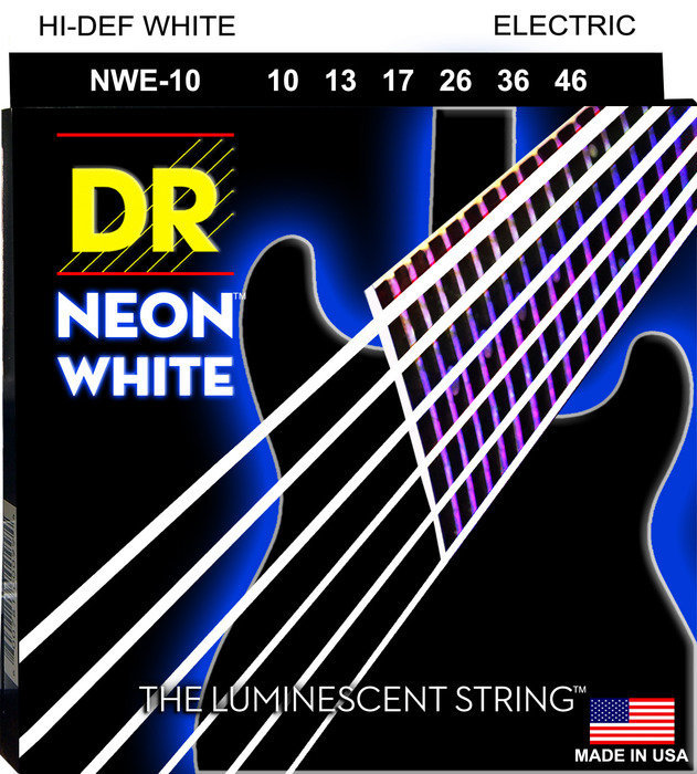 View larger image of DR Strings NWE-10 Neon White Electric Strings - Medium, 10-46