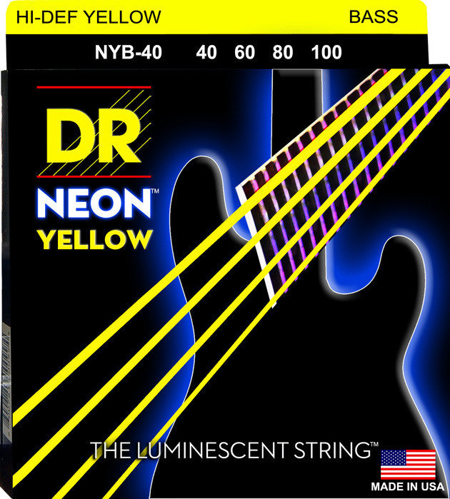 View larger image of DR Strings NYB-40 NEON Hi-Def Yellow Bass Strings - Lite, 40-100