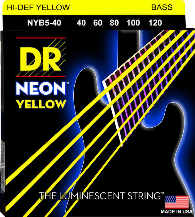 View larger image of DR Strings NYB5-40 NEON Hi-Def Yellow 5-String Bass Strings - Lite, 40-120