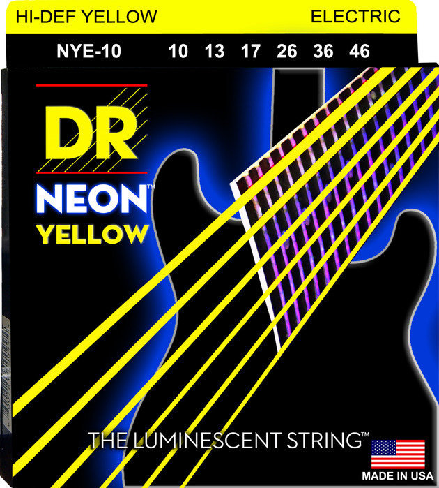 View larger image of DR Strings NYE-10 NEON Hi-Def Yellow Coated Electric Strings - Medium, 10-46