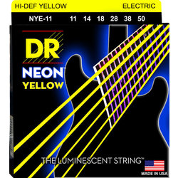 DR Strings NYE-11 NEON Hi-Def Yellow Coated Electric Strings - Heavy, 11-50