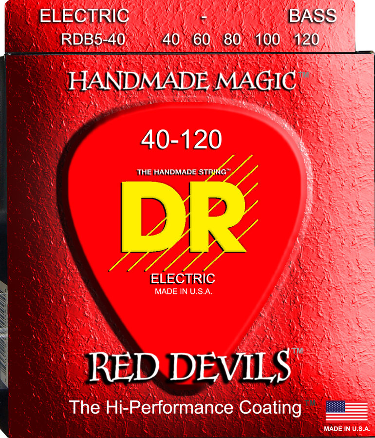 View larger image of DR Strings RDB5-40 Red K3 Coated 5-String Bass Strings - 40-120