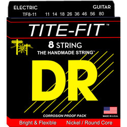DR Strings TF8-11 Tite-Fit 8-String Electric Strings - Medium Heavy, 11-80