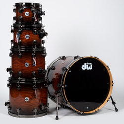 DW Collector's Series Exotic 5-Piece Shell Pack - Black Burst/Redwood