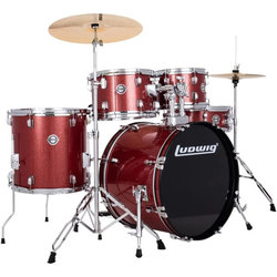 Ludwig Accent 5-Piece Drum Set - 22/14SD/16FT/12/10, Hardware, Cymbals, Red Sparkle