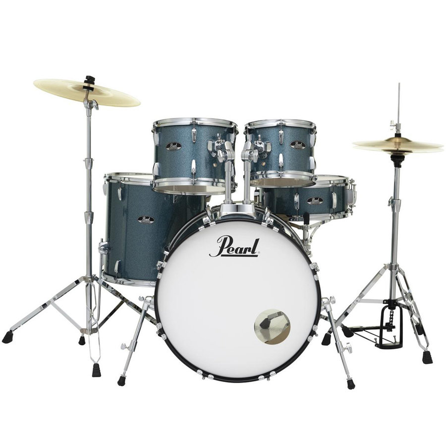 View larger image of Pearl Roadshow 5-Piece Drum Set - 22/14SD/16FT/10/12, Hardware, Cymbals, Throne, Aqua Blue Glitter