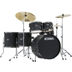 Tama Imperialstar 6-Piece Complete Drum Kit - 22/14SD/14FT/16FT/10/12, Hardware, Cymbals, Throne, Blacked Out Black