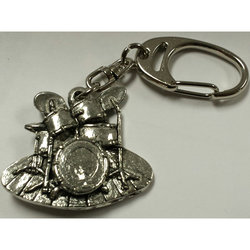 Drum Set Keychain - Pewter