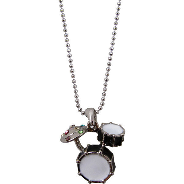 View larger image of Drum Set Necklace with Rhinestones - Black