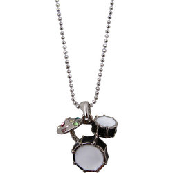 Drum Set Necklace with Rhinestones - Black
