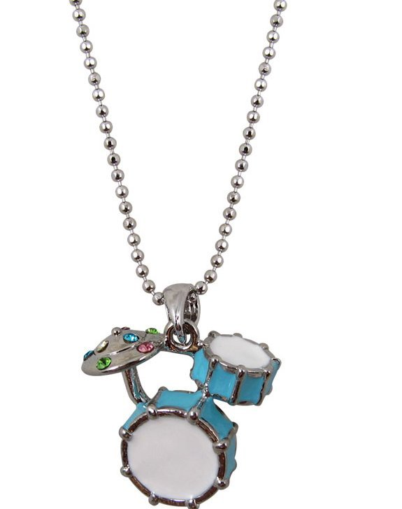 View larger image of Drum Set Necklace with Rhinestones - Blue