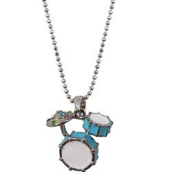 Drum Set Necklace with Rhinestones - Blue