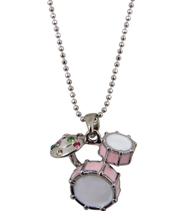 View larger image of Drum Set Necklace with Rhinestones - Pink