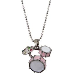 Drum Set Necklace with Rhinestones - Pink