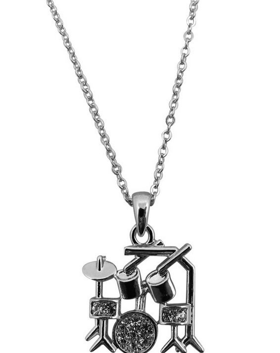 View larger image of Drum Set Necklace with Rhinestones - Silver