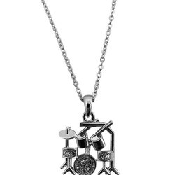Drum Set Necklace with Rhinestones - Silver