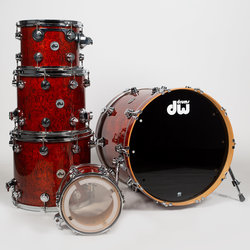 DW Collector's Series 5-Piece Shell Pack - 22/16FT/14FT/12/10, Tobacco Stain over Teardrop Quilted Maple