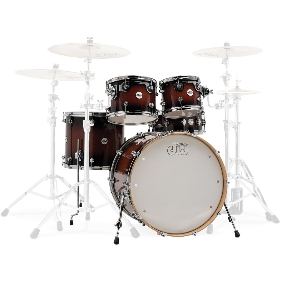 View larger image of DW Design Series 5-Piece Shell Pack - 22/14SD/16FT/12/10, Tobacco Burst
