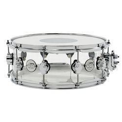 DW Design Series Snare Drum - Acrylic Clear, 5.5x14