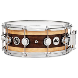 DW Super Solid Edge Snare Drum - Walnut with Maple Edges