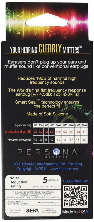 View larger image of Earasers Musicians HiFi Earplugs - Large