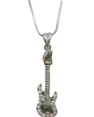 View larger image of Electric Guitar Necklace with Iridescent Rhinestones