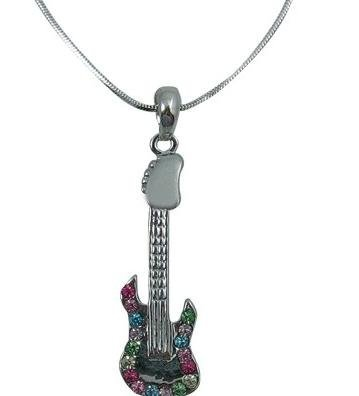 View larger image of Electric Guitar Necklace with Multi Coloured Rhinestones