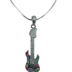Electric Guitar Necklace with Multi Coloured Rhinestones