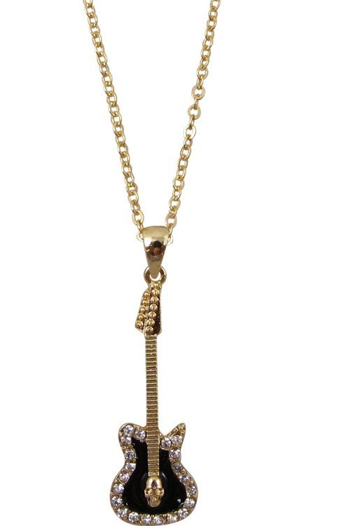 View larger image of Electric Guitar Necklace with Rhinestones - Gold/Black