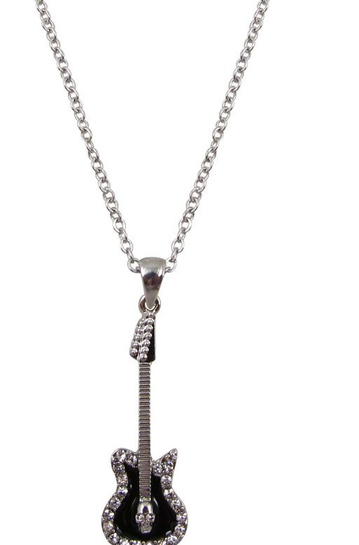 View larger image of Electric Guitar Necklace with Rhinestones - Silver/Black