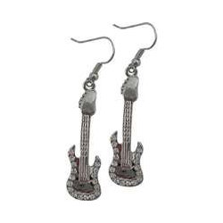 Electric Guitar Rhinestone Earrings - Clear