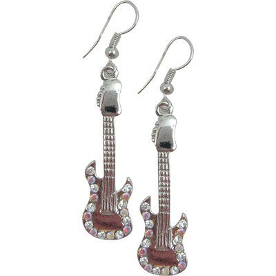 View larger image of Electric Guitar Rhinestone Earrings - Iridescent