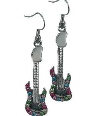 View larger image of Electric Guitar Rhinestone Earrings - Multi
