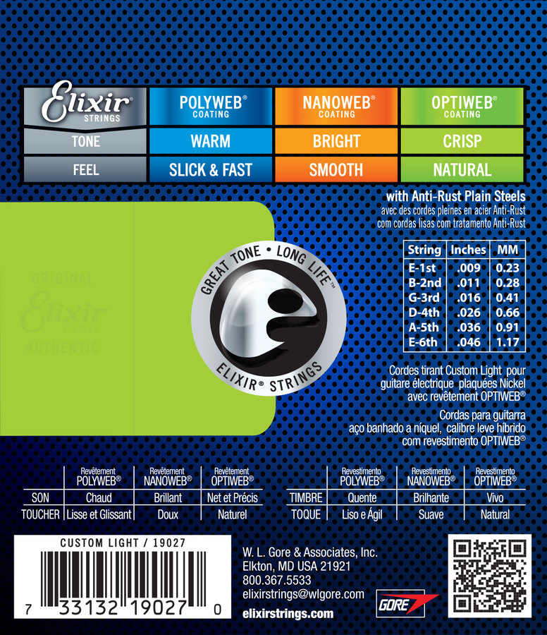 View larger image of Elixir Electric Nickel Plated Steel Strings with OPTIWEB Coating - Custom Light, .009-.046