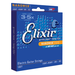 Elixir Nanoweb Nickel-Plated Electric Guitar Strings -  Light-Heavy, 10-52