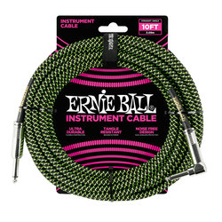 Ernie Ball Braided Instrument Cable - 1/4 TS to Right Angle 1/4 TS, 10', Black/Green